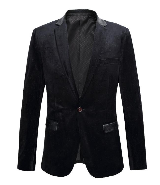 Sleek Black Velvet Blazer With High End Leather Trim Pilaeo