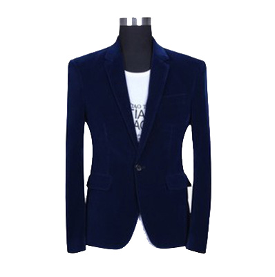 Sleek Dark Blue Charming Velvet Blazer