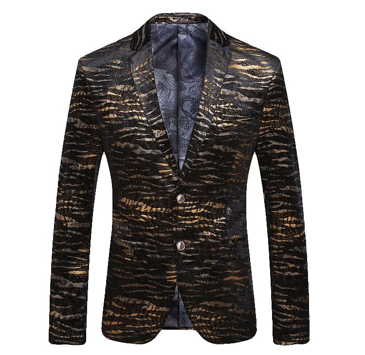 Sleek Tiger Striped Golden Black Luxury Blazer