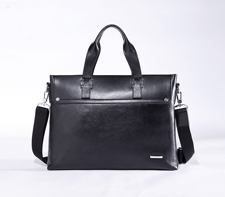 Sophistiqué serviette en cuir Laptop Messenger Bag Black