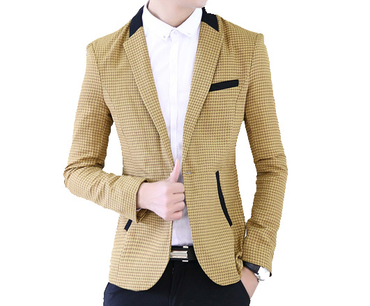 Elegante Beige Tailored Check Blazer