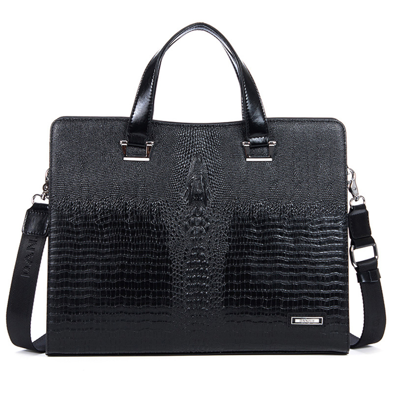 Motif crocodile élégant en cuir d`affaires Bag Black