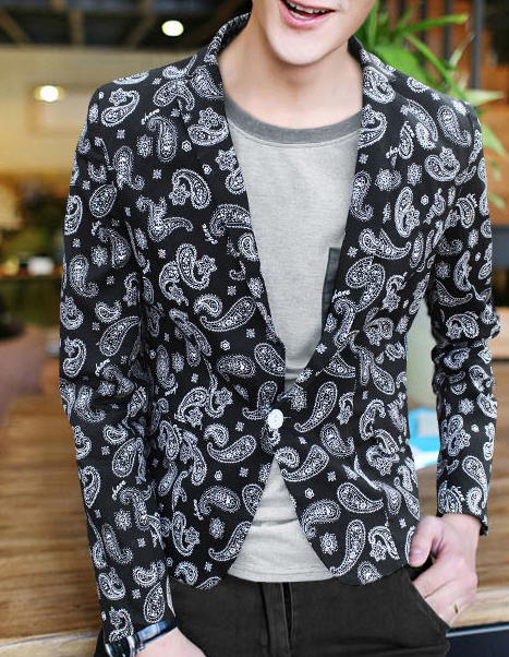 Stylish High End Black White Paisley Imprimir Cotton Blazer