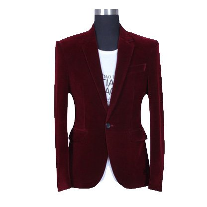 High End Mens Burgundy Velvet Blazer