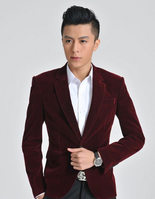 Upscale Fashion Burgundy Velvet Blazer