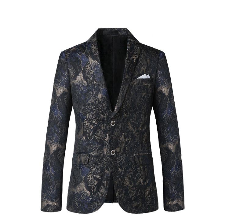 Upscale Grey Navy Blue Grunge Pattern Blazer at Pilaeo Mens Fashion