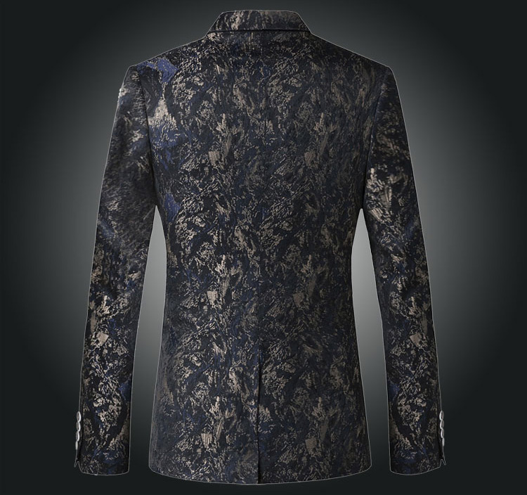 Upscale Grey Navy Blue Grunge Pattern Blazer at Pilaeo Mens Fashion