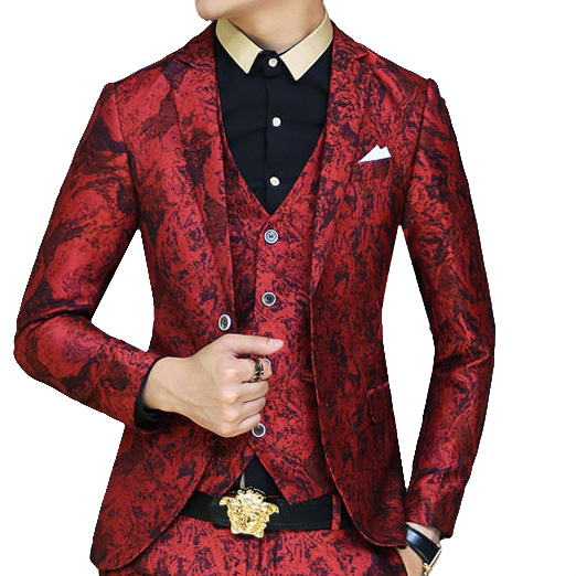 Upscale Red Fashionable Grunge Pattern Blazer at PILAEO