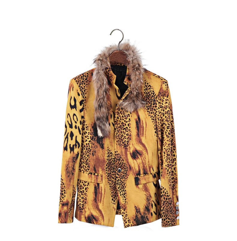 Leopard Yellow Stylish Fur Collar Blazer